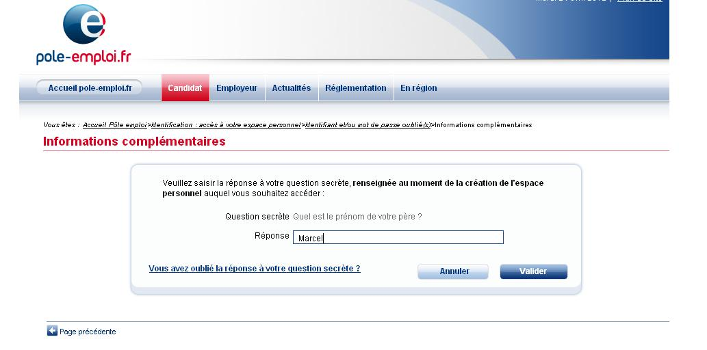 question secrete pole emploi