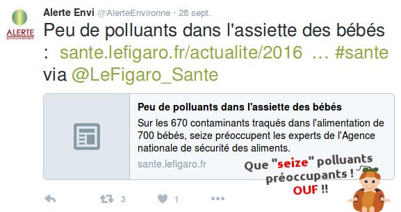 """Que """"seize"""" polluants préoccupant dans les assiettes des bébés... OUF !"""